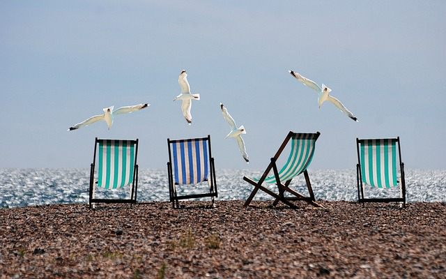 chałupy 3 domki mewy leżaki plażą fotografia